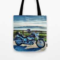 middle earth Tote Bags featuring Harley Davidson, Middle Earth Edition. by Bodhikai Imagery | Pacific Northwest Tra