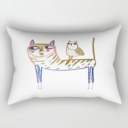 cat and owl, cat art, cat print, cat illustration, cats, cat, owl print, Rectangular Pillow