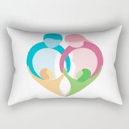 Heart shaped family logo. Mother, father, little boy and little girl Rectangular Pillow