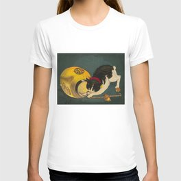 Kobayashi Kiyochika Black & White Cat Fluffy Cat Japanese Lantern Vintage Woodblock Print T-shirt