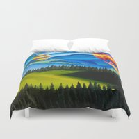 hot air balloons Duvet Covers featuring Acrylic Hot Air Balloons by Megan White