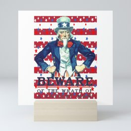 Beware of The Wrath of the Patient Man Stars And Stripes Mini Art Print