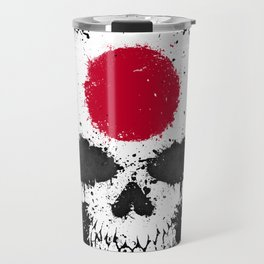 Flag of Japan on a Chaotic Splatter Skull Travel Mug