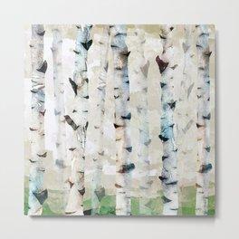 Birch Tree WaterColor Metal Print