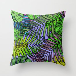 Palm & Monstera Leaves Throw Pillow