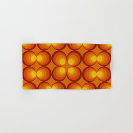 70s Circle Design - Orange Background Hand & Bath Towel