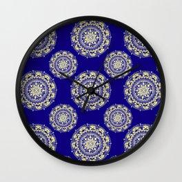 Royal Blue and Gold Patterned Mandalas Wall Clock