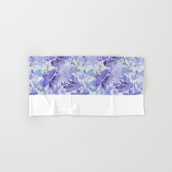 Purple Flower watercolor allover pattern Hand & Bath Towel