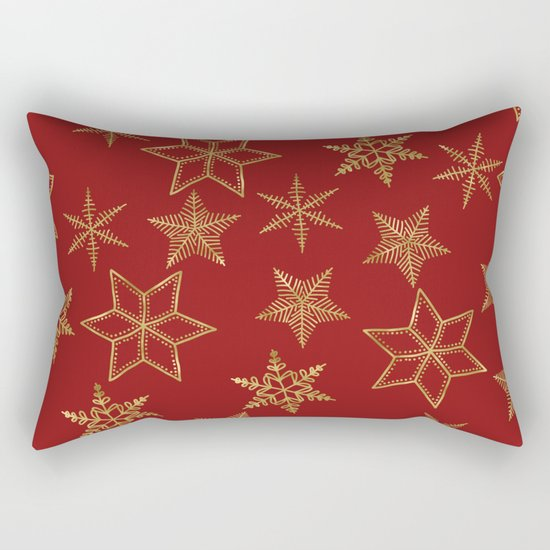 Snowflakes Red And Gold Rectangular Pillow