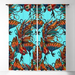 rooster ink turquoise Blackout Curtain