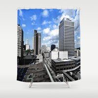 memphis Shower Curtains featuring Memphis Blues  by Invert The World