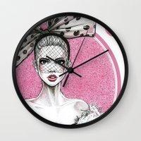 fancy Wall Clocks featuring Fancy by Tania Santos
