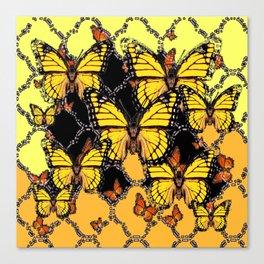 BLACK-GOLDEN YELLOW BUTTERFLIES ART Canvas Print