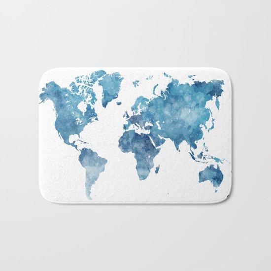 World map in watercolor. Bath Mat