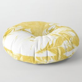 Suminagashi 3 gold and white marble spilled ink ocean swirl watercolor painting Floor Pillow