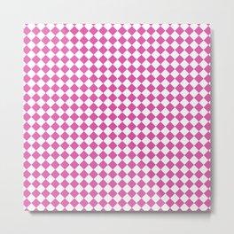 Geometric modern pink white diamonds pattern Metal Print