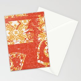 Crayon Bright Grunge Orange Abstract Stationery Cards