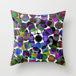 Cluttered Circles III - Abstract, Geometric, Pastel Coloured, Circle Patterned Artwork Throw Pillow
