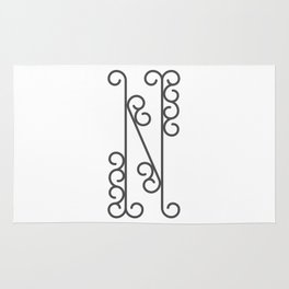 """Letter """"N"""" in beautiful design Fashion Modern Style Rug"""