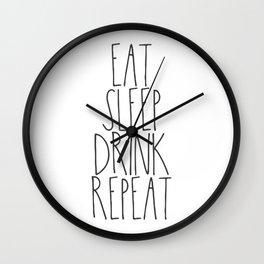 Eat, Sleep, Drink, Repeat Wall Clock