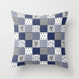 Raven House cheater quilt patchwork wizarding witches and wizards Throw Pillow