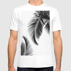 Black and white Leafs White MEDIUM Mens Fitted Tee