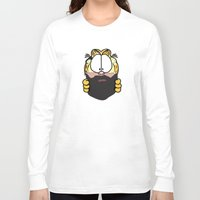 garfield Long Sleeve T-shirts featuring Garfield Cat Beard by Stuff Your Eyes