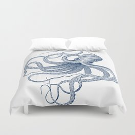 Blue nautical vintage octopus illustration Duvet Cover