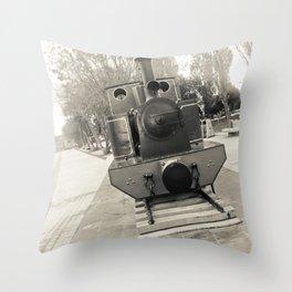 Train, gray. Throw Pillow