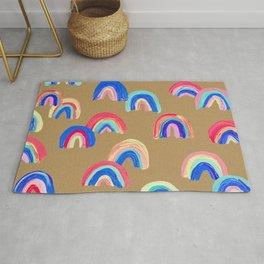 Abstract Rainbow Arcs – Kraft Rug
