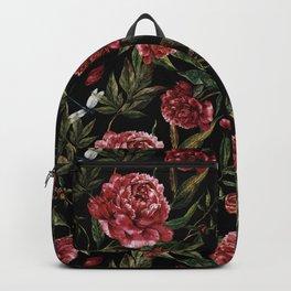 Black Vintage Peony Garden Backpack