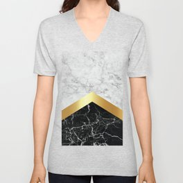 Arrows - White Marble, Gold & Black Granite #147 Unisex V-Neck