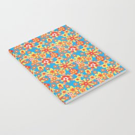 Ditsy Orange Flowers on Blue Notebook