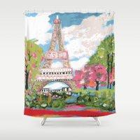 karen hallion Shower Curtains featuring Eiffel Tower by Karen Fields by Karen Fields Design