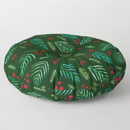 Christmas tree branches and berries - green Floor Pillow
