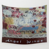 angel wings Wall Tapestries featuring Angel wings  by drskippyart