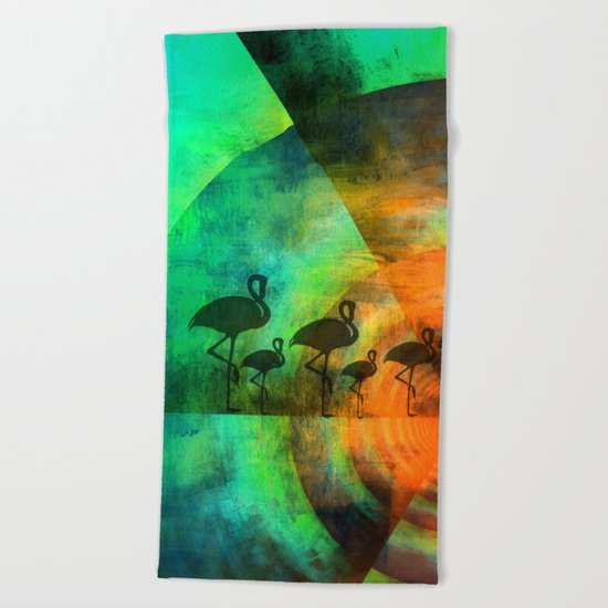 Flamingo Keep Walking Beach Towel