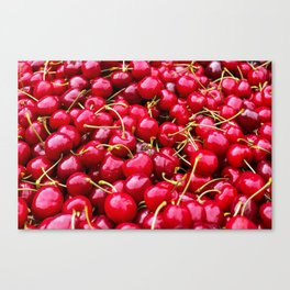 Fresh and delicious fruity red cherries fruit food pattern Canvas Print