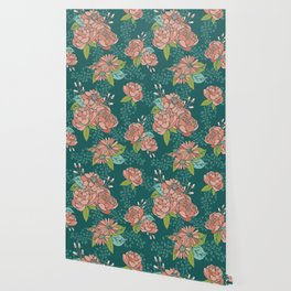 Moody Florals in Teal Wallpaper