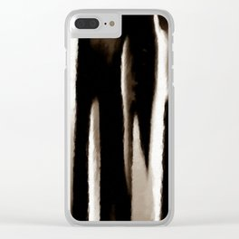 White Tan Brown and Black Abstract Draw Digital Painting Clear iPhone Case