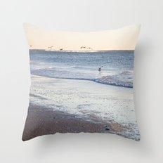 Birdy Beach  Throw Pillow
