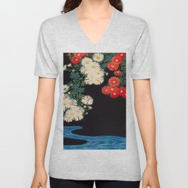 Ohara Koson Chrysanthemums and Running Water 1931 Japanese Woodblock Print Vintage Historical Unisex V-Neck