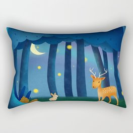 Forest Animals At Night Rectangular Pillow