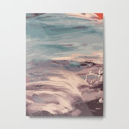 Abstract Sunset Beach Waves Metal Print