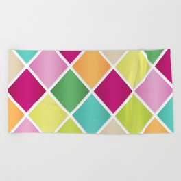 Modern Diamond Geometric Pattern Design // Pink Orange Green Blue Beach Towel