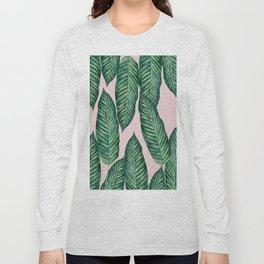 Green Banana Leaves Pink #society6 Long Sleeve T-shirt