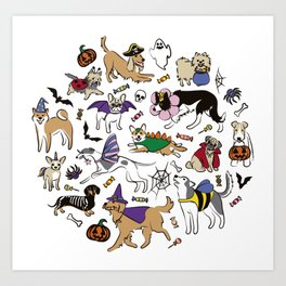 Dogs Fun Halloween Art Print