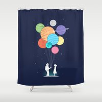 banksy Shower Curtains featuring You are my universe by I Love Doodle