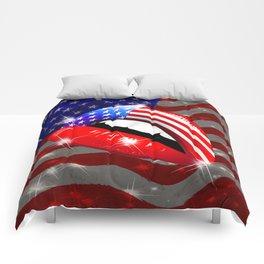 USA Flag Lipstick on Sensual Lips Comforters