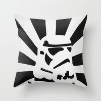 stormtrooper Throw Pillows featuring StormTrooper by Shelly Lukas Art